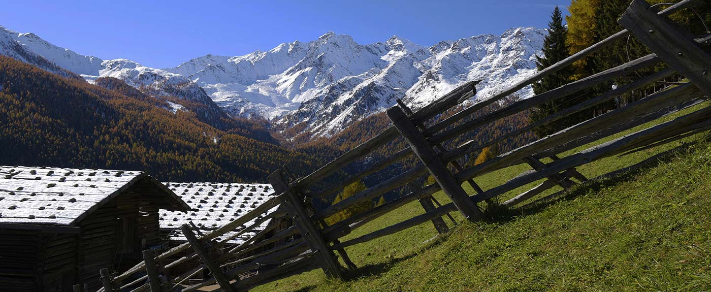 Mountain huts and wooden fence with snowy mountains on the back